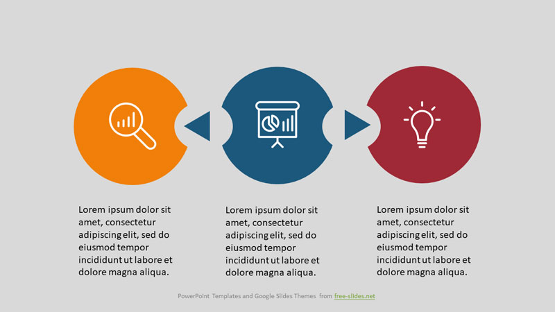 3 Stage Infographics Powerpoint Template - Related Circles