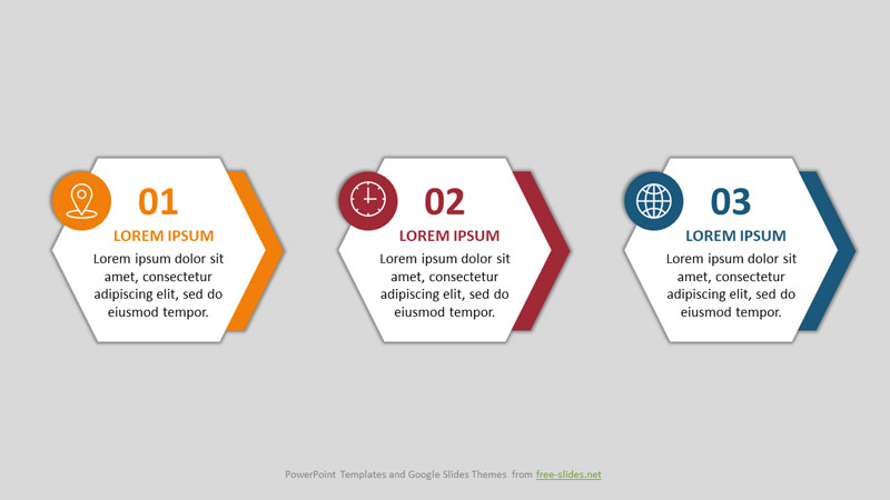 3 Stages Hexagon Shape Infographics Powerpoint Template