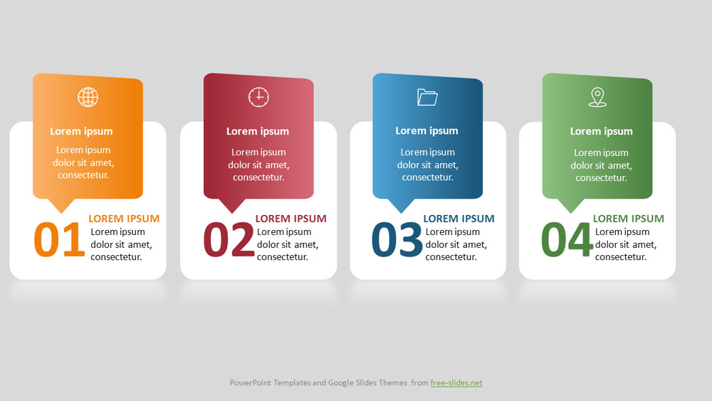 4 stage rectangles with rounded corners Infographic