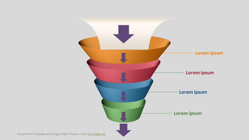 4 Step Funnel Infographics Powerpoint Template