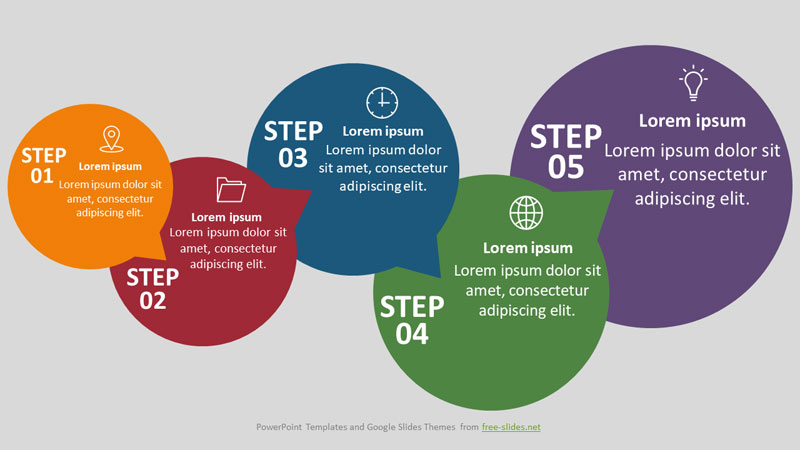 5 Stage Infographics Powerpoint Template - Intersecting Circles