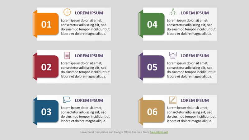 6 Stage Infographics Powerpoint Template with Numbers and Color Inserts