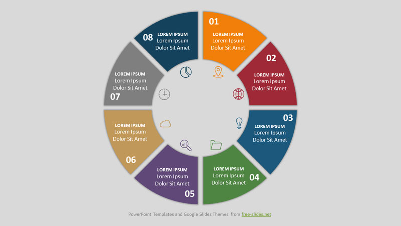 8 Stage Infographic Powerpoint Template - the Circle is Divided into Sectors