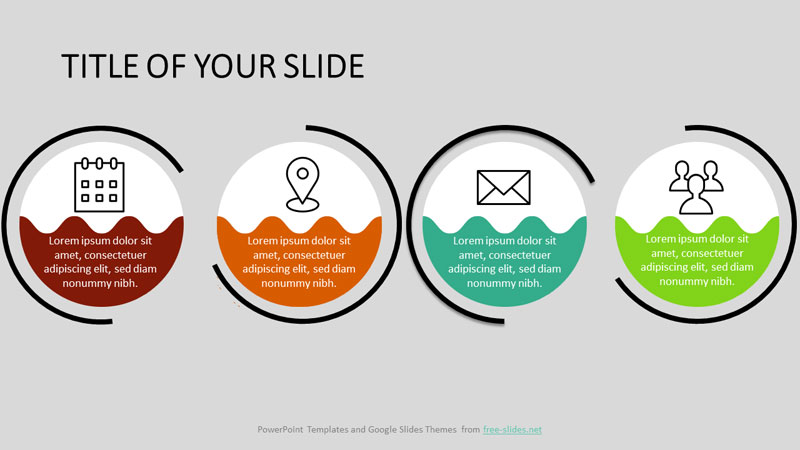Circles with wavy lines in the middle PowerPoint Infographic Template