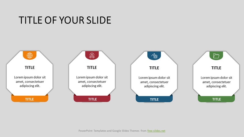 Octagons on stands Infographic Template