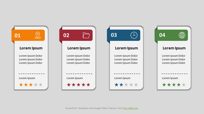 Rectangles with Partially Rounded Corners - 4 stage Infographics Powerpoint Template