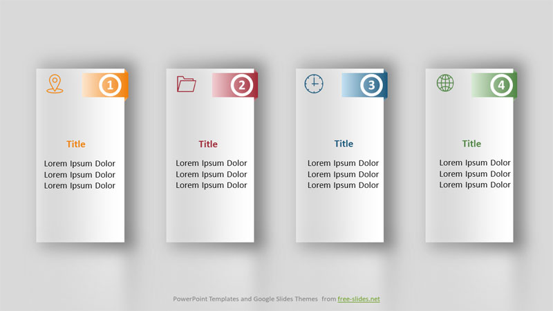 Rectangles with Shadows - 4 Stage Infographics Powerpoint Template