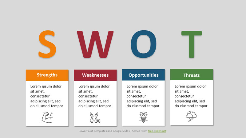 SWOT Analysis Infographic Powerpoint Template - Big Letters