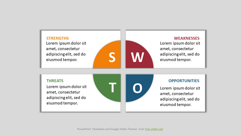 SWOT Analysis Infographic Powerpoint Template - Rectangles with Sectors
