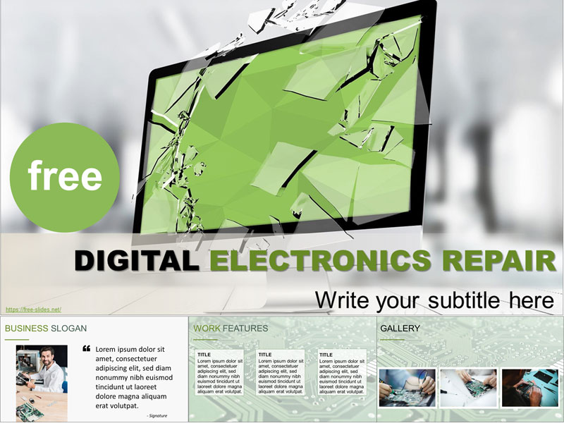 Digital electronics repair free PowerPoint Template and Google Slides Theme