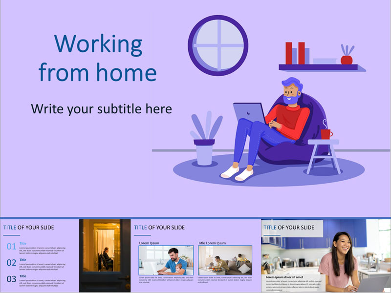 Working from home free PowerPoint Template and Google Slides Theme