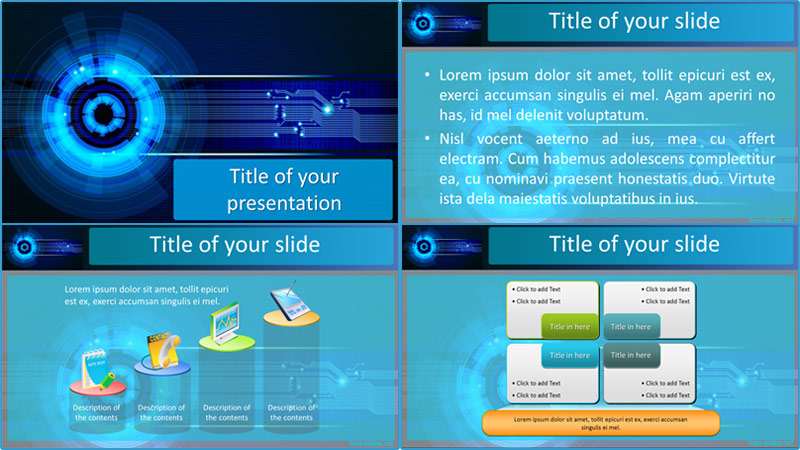 Tech Eye powerpoint template from free-slides.net