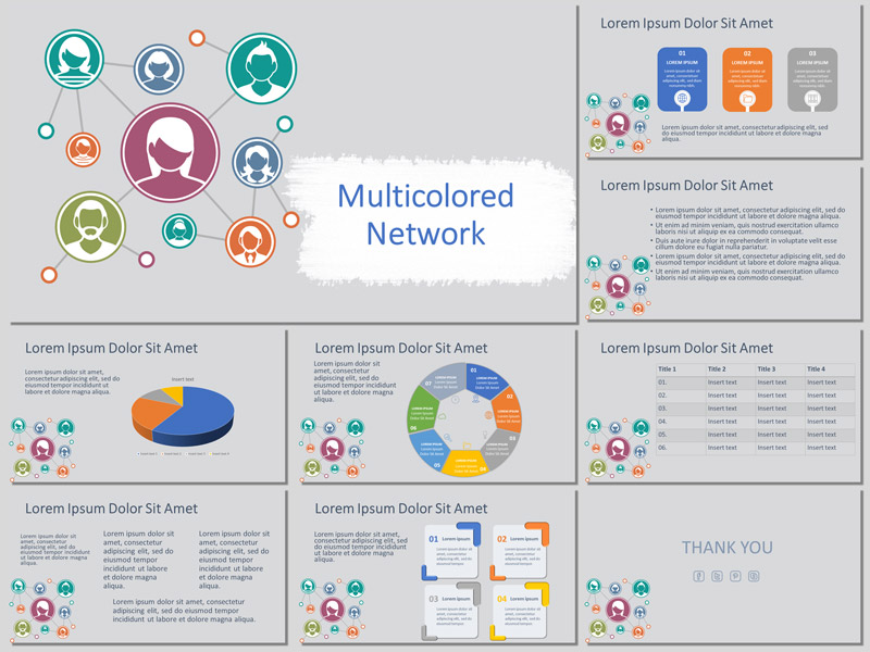 Multicolored Network Presentation Template
