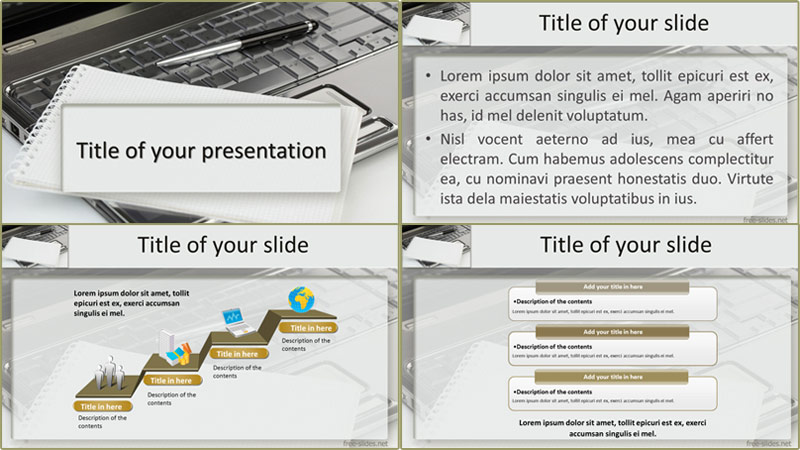 Notebook and computer powerpoint template from free-slides.net