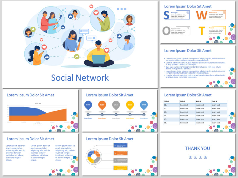 Free template for creating a presentation about social network