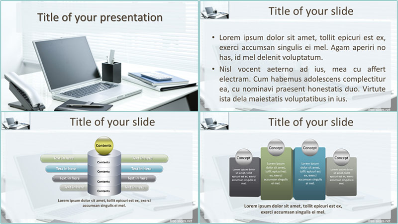 Workspace powerpoint template from free-slides.net