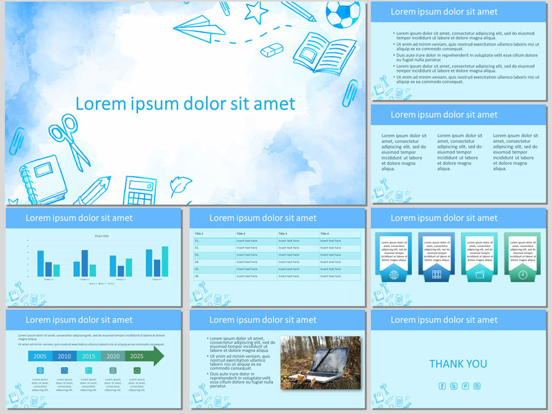 About School in Watercolors Presentation Template