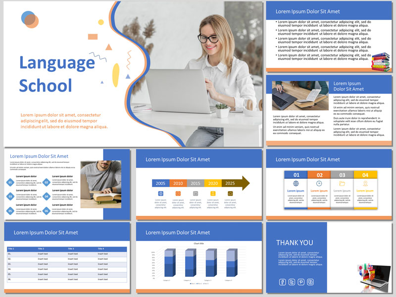 Free Language School PowerPoint Template and Google Slides Theme