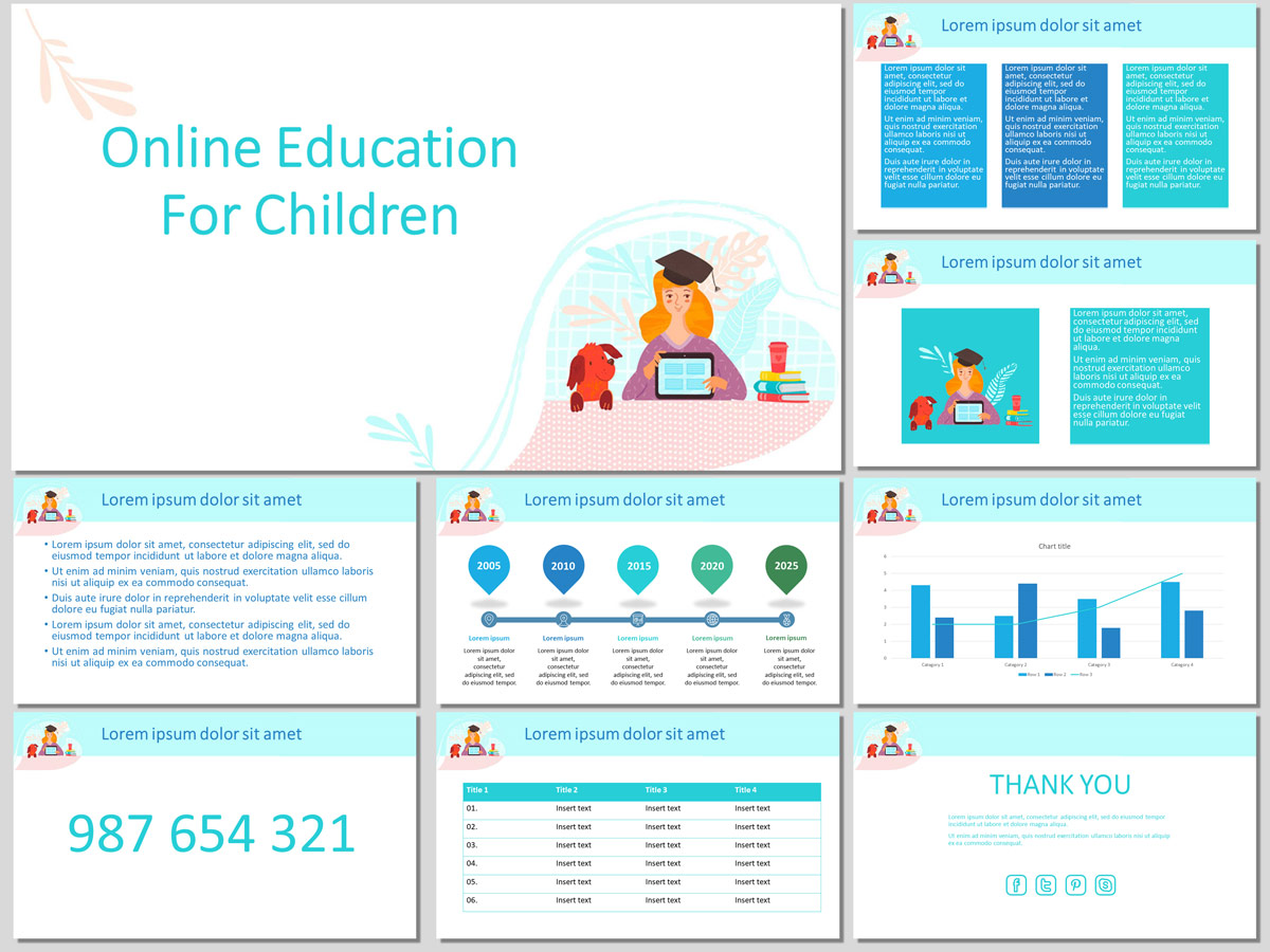 Online Education for Children - Free PowerPoint Template and Google Slides Theme