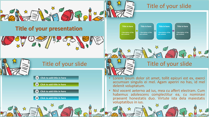 School supplies powerpoint template from free-slides.net