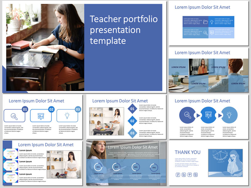 Free Teacher Portfolio PowerPoint Template and Google Slides Theme