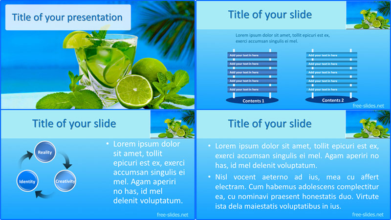 Coctail majito powerpoint template from free-slides.net