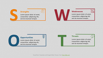 SWOT Analysis Infographic Powerpoint Template - Large Letters and Rectangles
