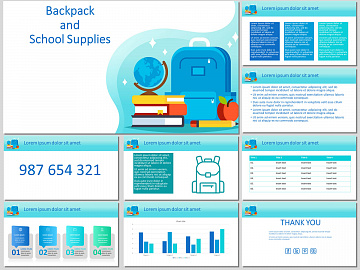 Backpack and school supplies. Free PowerPoint Template and Google Slides Theme